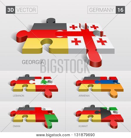 Germany and Georgia, Lebanon, Armenia, Oman, Kuwait Flag. 3d vector puzzle. Set 16.
