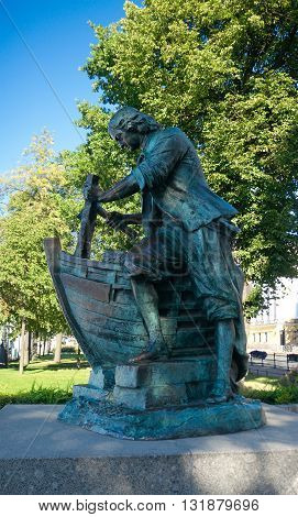 Saint Petersburg Russia - August 18 2015: Monument of Peter the Great (Tsar the Carpenter the second copy (1996) of monument (1910) by Leopold Bernhard Bernstamm) on Admiralty Embankment.