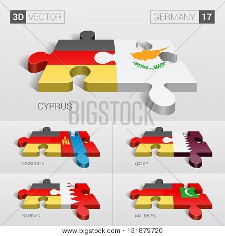 Germany and Cyprus, Mongolia, Qatar, Bahrain, Maldives Flag. 3d vector puzzle. Set 17.