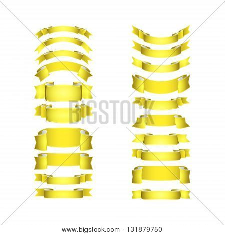 isolated vector colored satin ribbons set - yellow