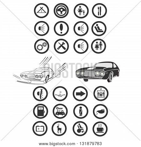 vector illustration of a twenty four car and services icons grouped for easier use with a couple of monochrome cars in the middle