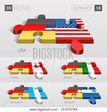 Germany and USA, Canada, Mexico, Guatemala, Salvador Flag. 3d vector puzzle. Set 18.