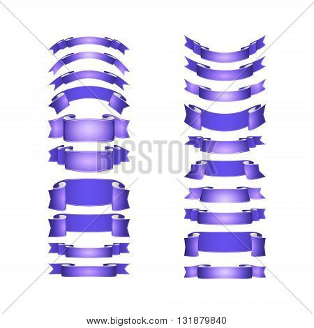 isolated vector colored satin ribbons set - purple and violet