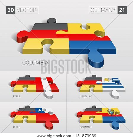 Germany and Colombia, Peru, Uruguay, Chile, Ecuador Flag. 3d vector puzzle. Set 21.