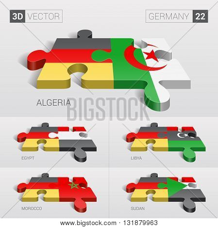 Germany and Algeria, Egypt, Libya, Morocco, Sudan Flag. 3d vector puzzle. Set 22.