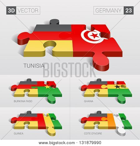 Germany and Tunisia, Burkina Faso, Ghana, Guinea, Cote d'Ivoire Flag. 3d vector puzzle. Set 23.