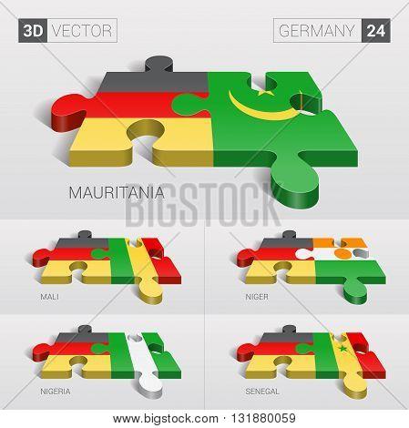 Germany and Mauritania, Mali, Niger, Nigeria, Senegal Flag. 3d vector puzzle. Set 24.