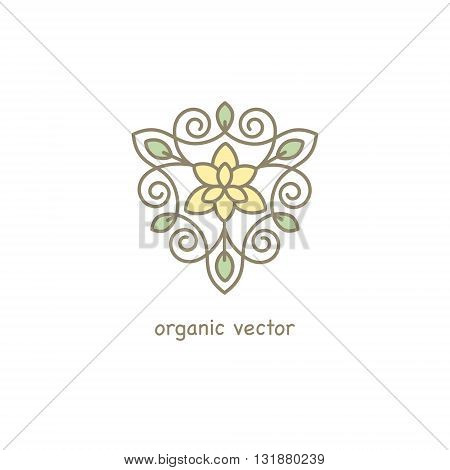 Vector Organic symbol. Modern illustration for packaging for natural products shops cosmetics clothing.