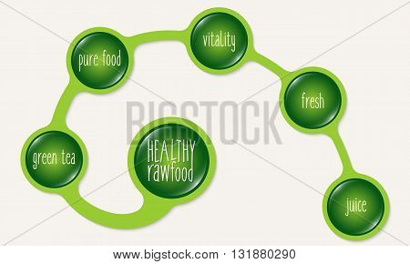 Green circular frames and healthy food icon