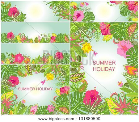 Backgrounds with tropical ornament for summer holidays