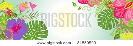Horizontal banner with tropical flowers
