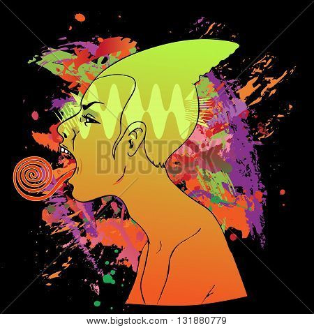 Female profile with twisted tongue stuck out, multicolored vector illustration
