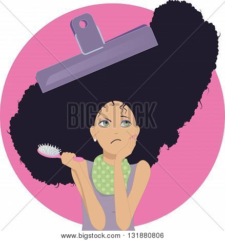 Unmanageable frizzy hair. Upset young woman with a chip clip on her frizzy hair and a hair brush, vector cartoon, no transparencies