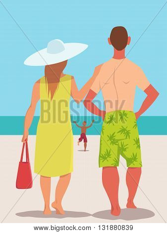 Family vacation. Rear view of a young family on the beach, father and mother standing together, looking at the view, a kid running to the sea, vector illustration, no transparencies