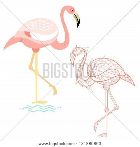 Bird flamingo. Flat icon and template for adult coloring, zen tangle. Set of vector animals in different unusual style. Illustration collection of nature objects isolated on white background.