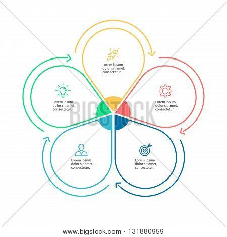 Linear infographics. Business diagram with 5 steps. Vector template.