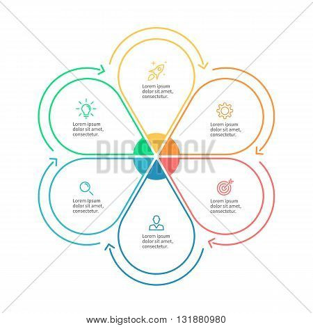 Linear infographics. Business diagram with 6 steps. Vector template.