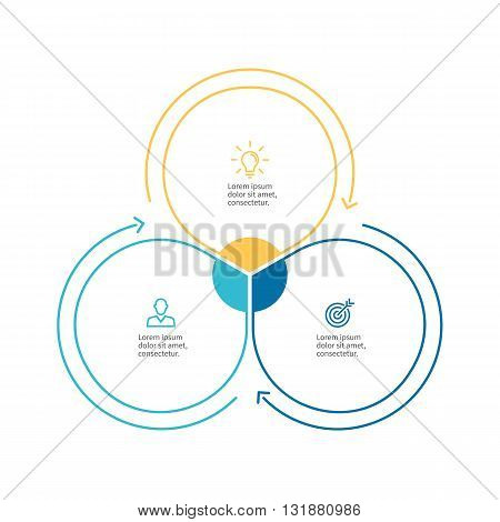 Linear infographics. Business diagram with 3 steps. Vector template.