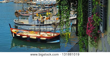 Fishing boats in the port of Camogli with flowers