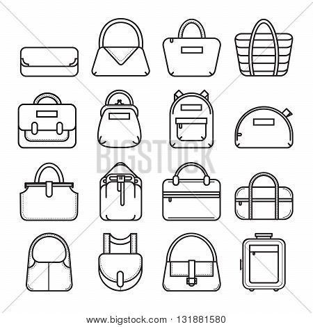 Bag icons. Set of 16 thin line bag icons. Vector illustration