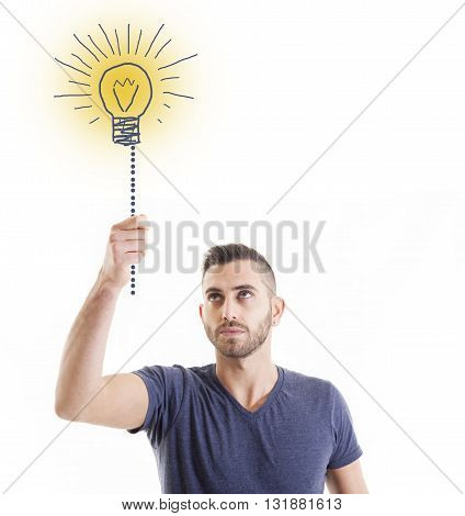 business man lights a doodle bulb idea
