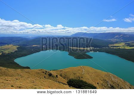 Lake Rotoiti in summer View from Mt Robert New Zealand.