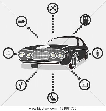 vector illustration of a monochrome retro car with car indication icons