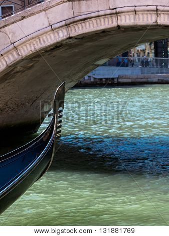 White Marble Bridge And Close Up Of Gondola's Iron Prow In Venice