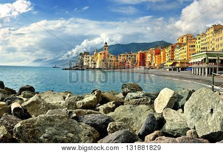 Scenic view of Camogli with fog sky