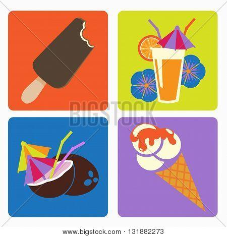vector icon ice cream and cocktails flower orange straw coconut