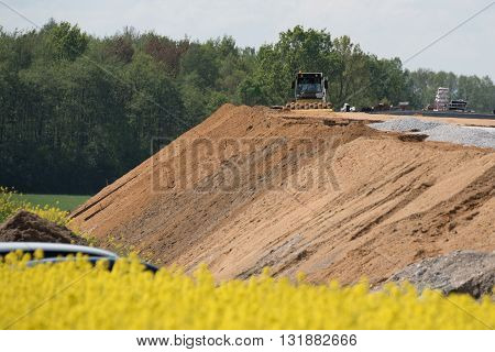 Large view on the new road construction site