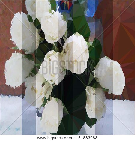 vector illustration of a triangulated bouquet of white roses with shutters effect background