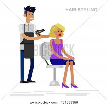 Detailed character Barber makes styling for glamorous girl, beautiful smiling blond woman. Web banner template  for beauty saloon isolated on white background.