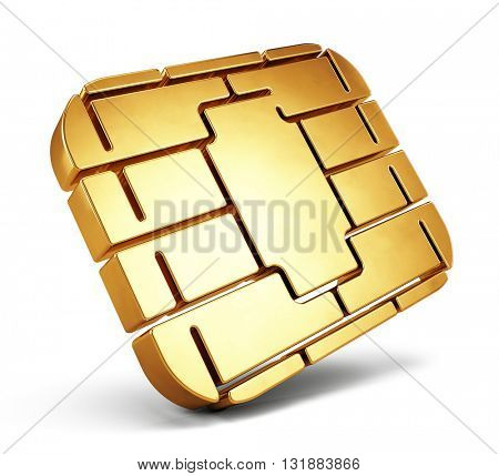 Credit Card Chip or SIM card chip. 3d render