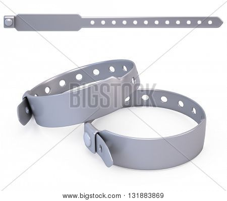 Silicone blank bracelet isolated on white - 3d render