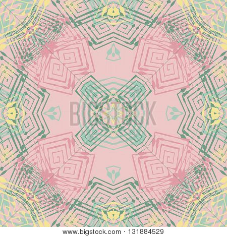 Vector seamless pattern background with different geometrical shapes of multiple colors. Illustration with symmetrical design. Kaleidoscope backdrop. Modern banner design template.