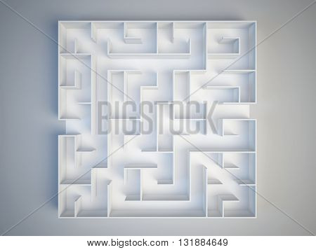 Maze on white background. Search and decision making concept. 3d render