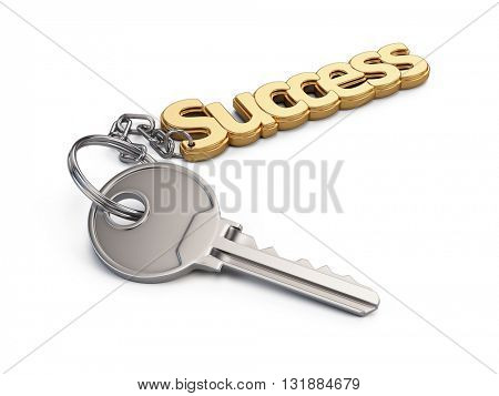 Key to Success isolated on white background. 3d render