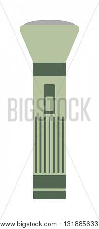 Army green military flashlight isolated on white vector
