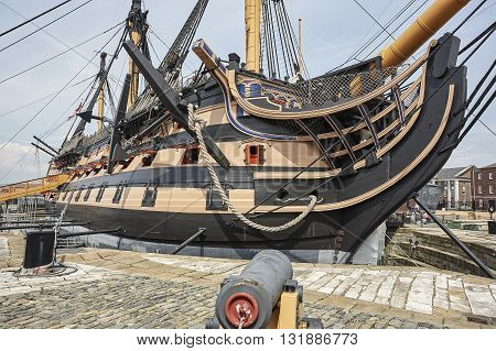 Portsmouth UK , May 2016: HMS Victory is the Royal Navy's most famous warship. Best known for her role in the Battle of Trafalgar. Victory was permanently saved for posterity in 1922 following a national appeal, and placed into dry dock at Portsmouth