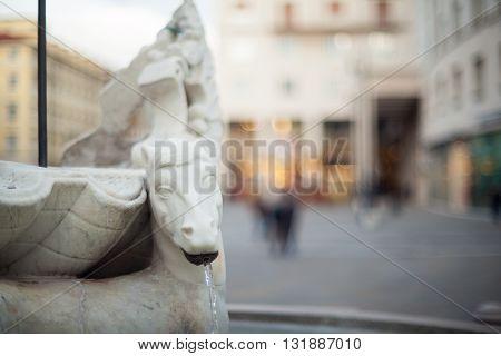 Close up of Neptune fountain in Trieste
