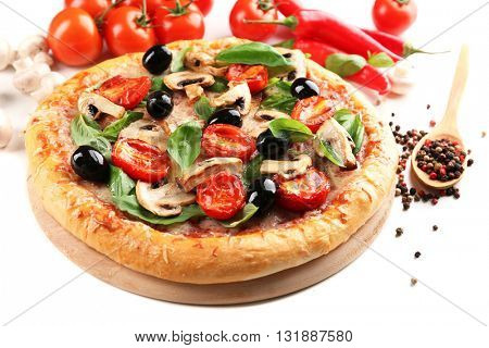 Delicious tasty pizza with vegetables on light background