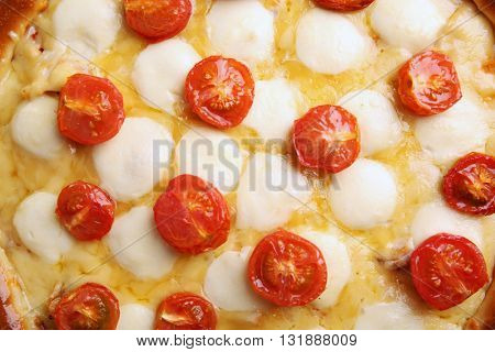 Pizza Margherita, close-up
