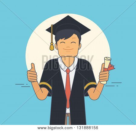 Proud student wearing black ceremony mantle and hat in graduation day. Young happy man holds in his hand certificate and does thumbs up gesture. Flat illustration of character graduated university