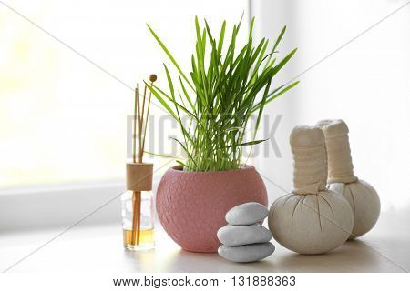 Spa composition on windowsill, indoors