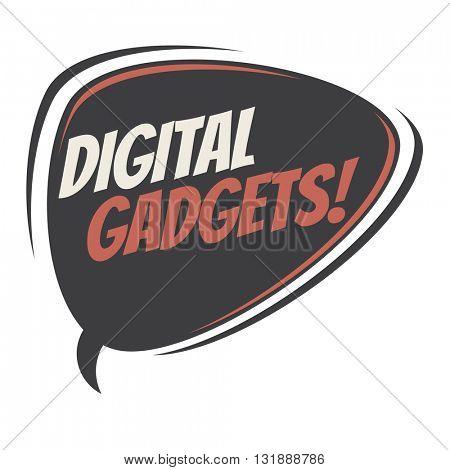 digital gadgets retro speech balloon