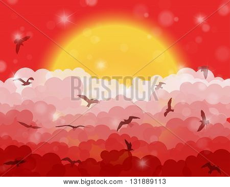 Cartoon Flying Birds In Clouds On Sun And Red Shining Sky Background. Vector Illustration