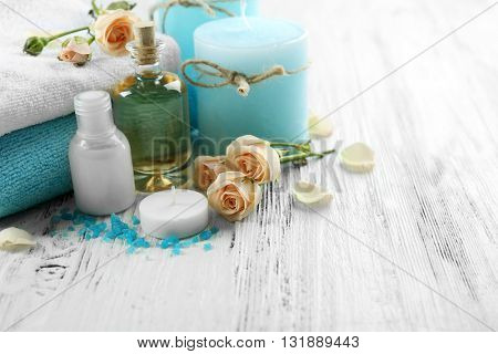 Spa set on white wooden table