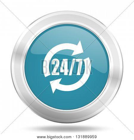 service icon, blue round metallic glossy button, web and mobile app design illustration