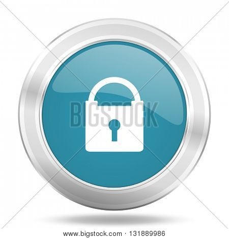 padlock icon, blue round metallic glossy button, web and mobile app design illustration